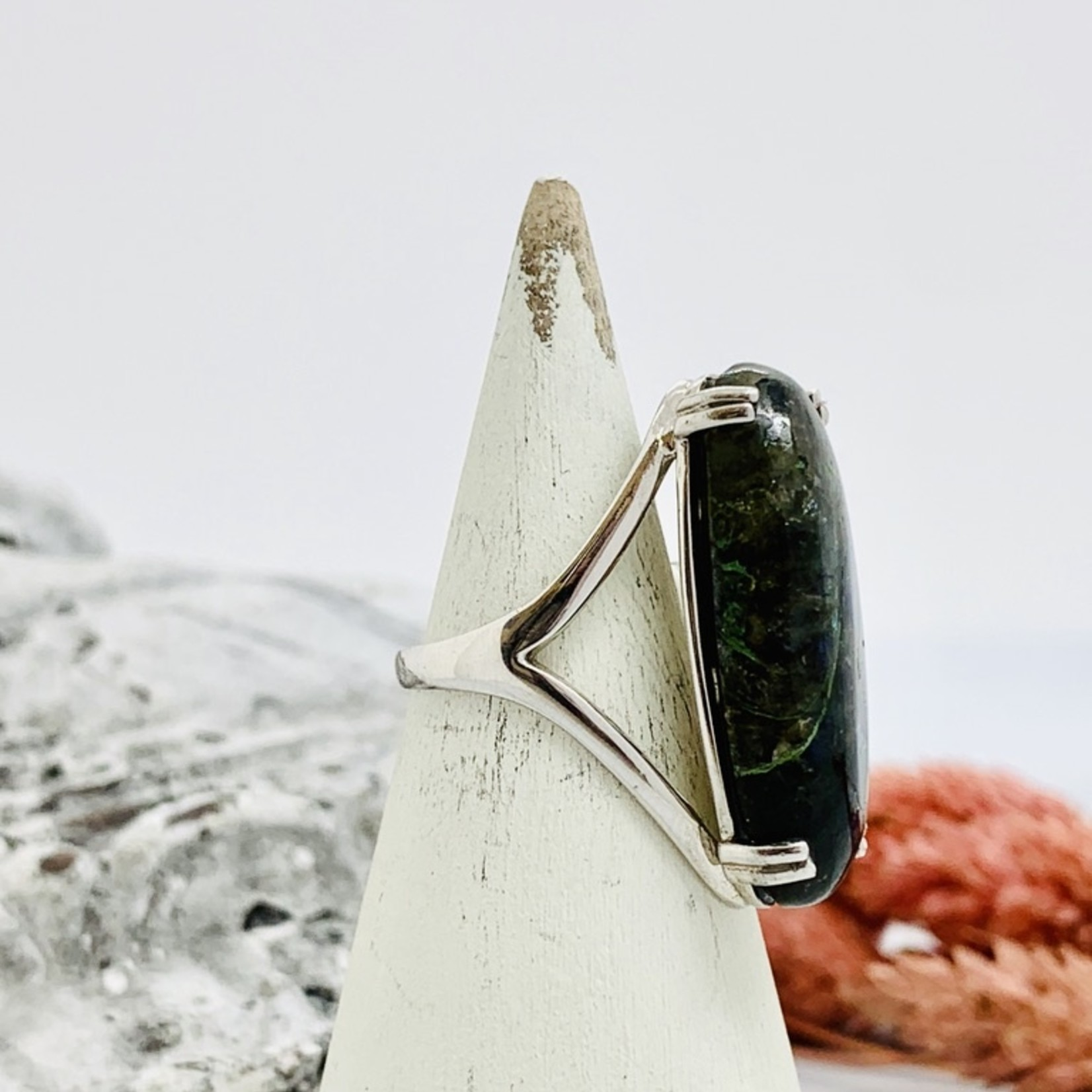 Sterling Silver Large Oval Labradorite Ring