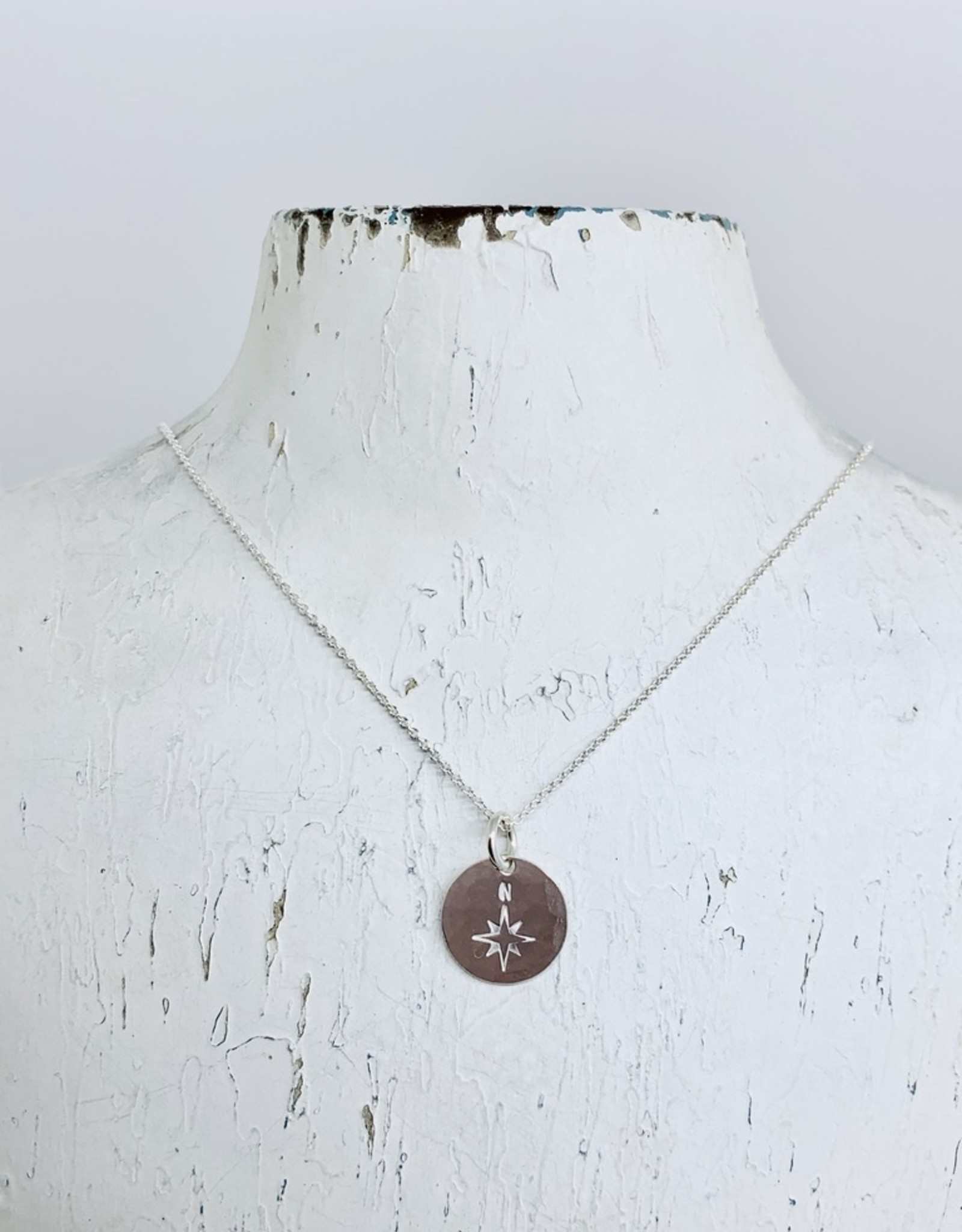 Becoming Jewelry North Star Round Charm Necklace, Silver
