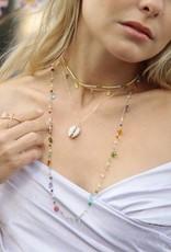 "Native Gems GUM DROP long necklace | 27-30"" with rose quartz, aquamarine, pearl, labradorite and black onyx and 14K gold vermeil"