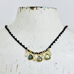 "Native Gems GLOSS silk crochet necklace, 16-18"" with Labradorite and CZ charms and 14k GF closure"