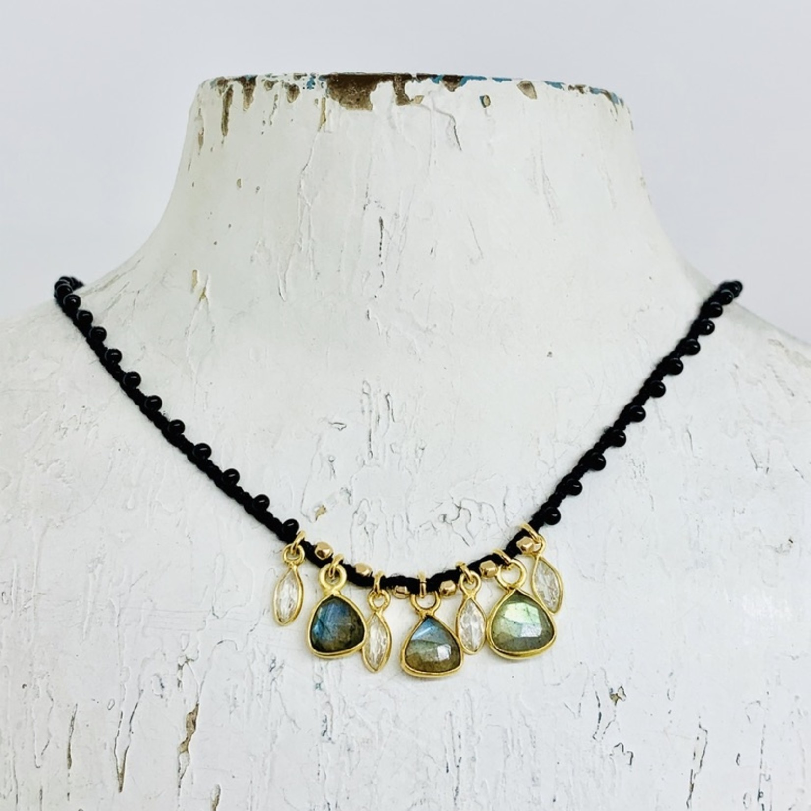 """Native Gems GLOSS silk crochet necklace, 16-18"""" with Labradorite and CZ charms and 14k GF closure"""