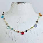 "Native Gems GUM DROP necklace, 14-16"" with rose quartz, aquamarine, pearl, labradorite onyx and 14K gold vermeil"