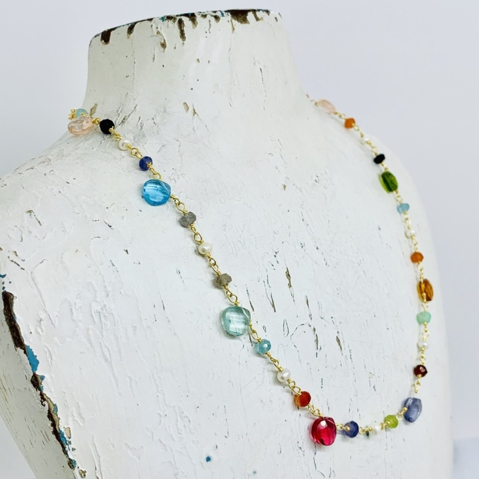 "Native Gems GUM DROP necklace, 14-16"" with rose quartz, aquamarine, pearl, labradorite onyx and 14K gold vermeil"