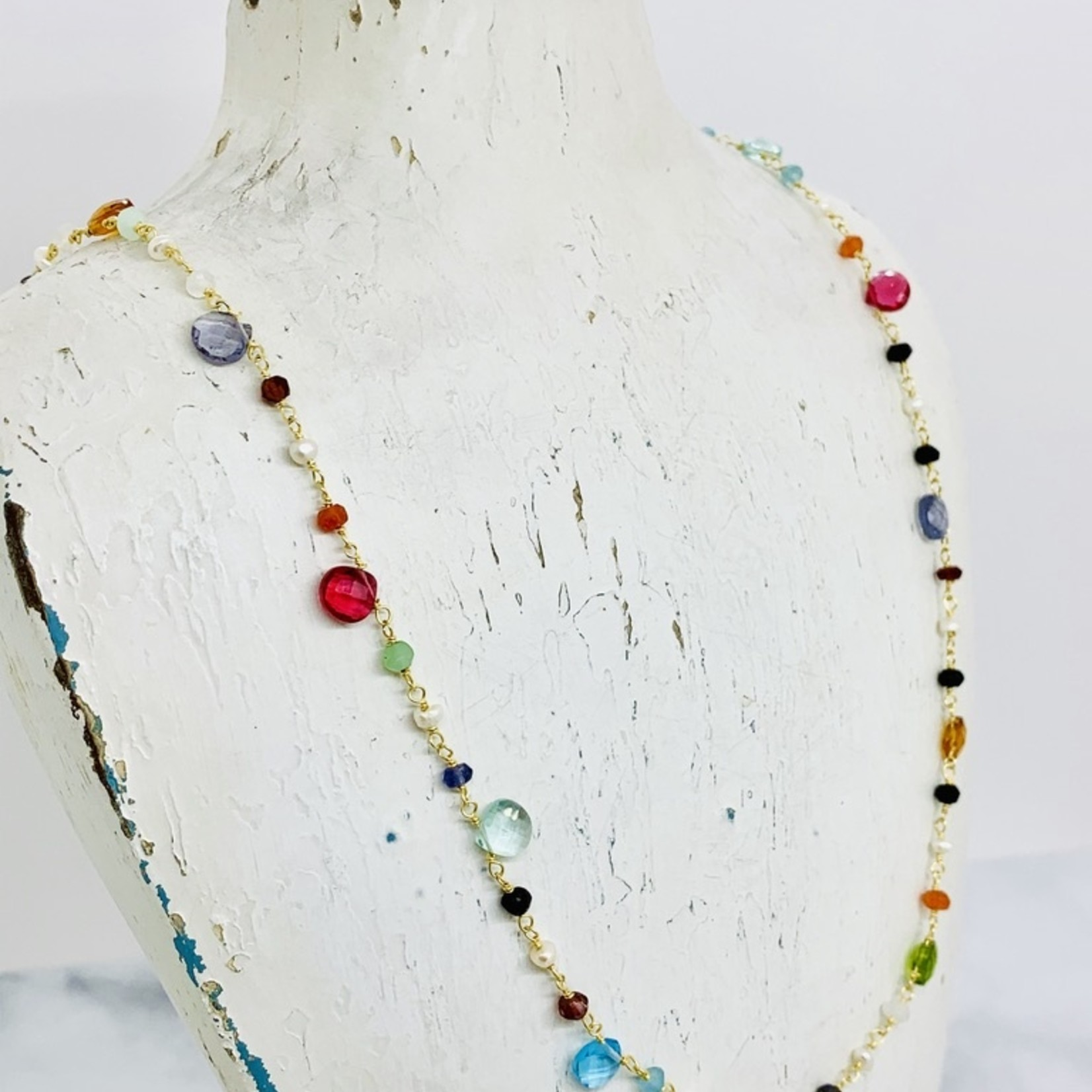 "Native Gems GUM DROP long necklace | 27-30"" with rose quartz, aquamarine, pearl, labradorite and black onyx and 14K gold vermeil"