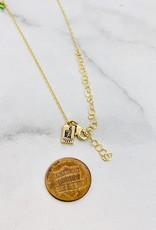 "Native Gems CANDY GEM 26-28"" long necklace, 14k GF with tiny emerald green quartz, teardrop opal, round pink topaz and trillion cut labradorite"