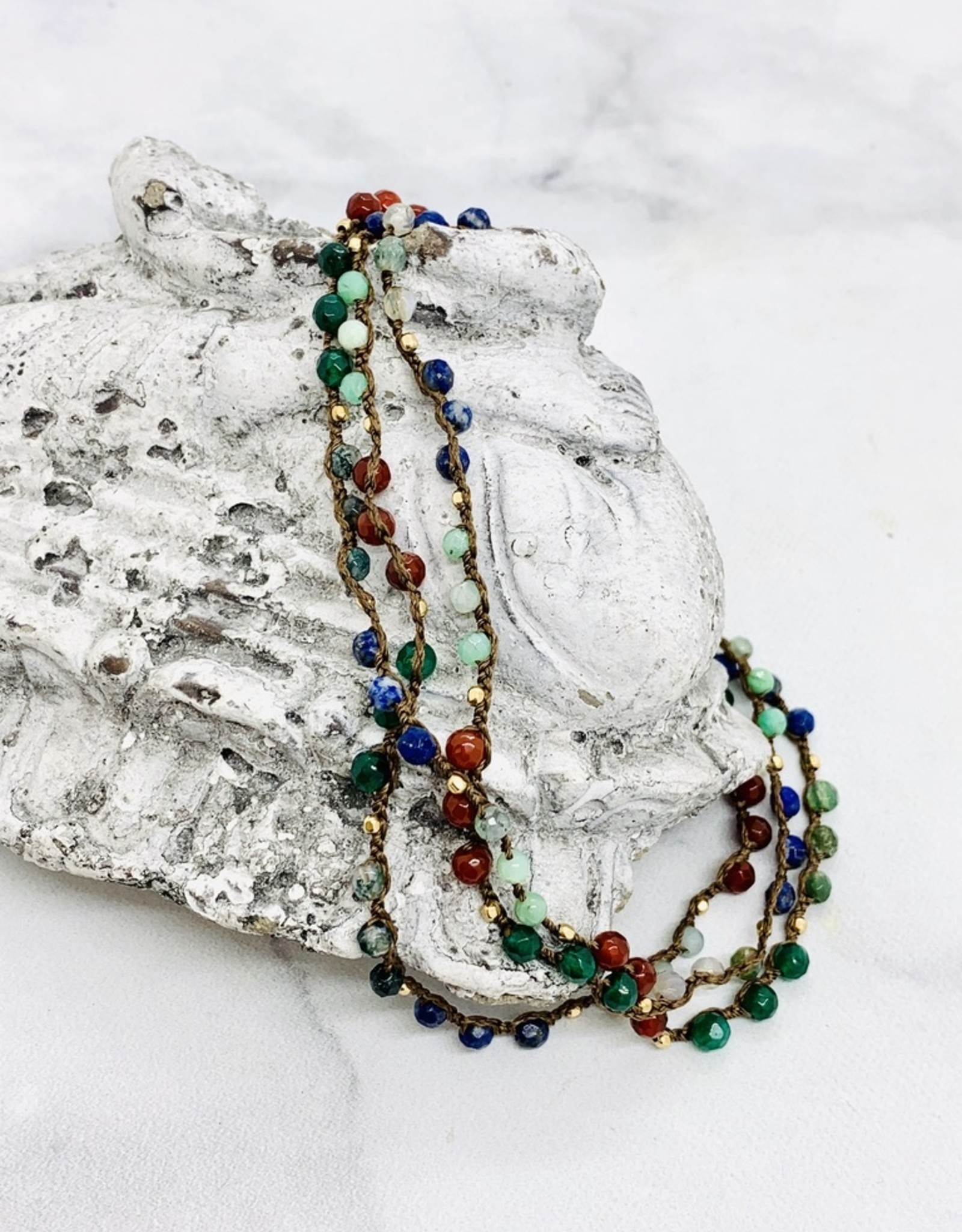 """Native Gems CHAKRA 14K wrap-necklace, 32"""" with carnelian, agate, apatite, lapis lazuli, chrysoprase and green agate with 14K goldfill beads"""