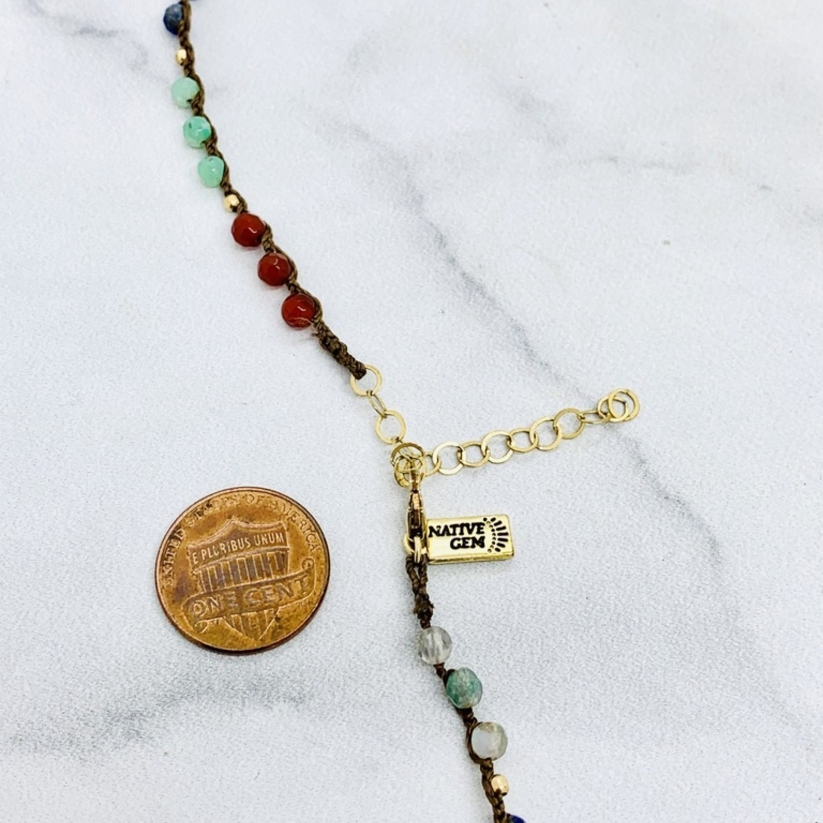"Native Gems CHAKRA 14K wrap-necklace, 32"" with carnelian, agate, apatite, lapis lazuli, chrysoprase and green agate with 14K goldfill beads"