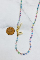 """Native Gems SORBET handcrochet wrap, 32"""" with pastel bugle beads and 14k gf clasp"""