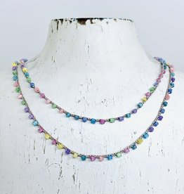 "Native Gems SORBET handcrochet wrap, 32"" with pastel bugle beads and 14k gf clasp"