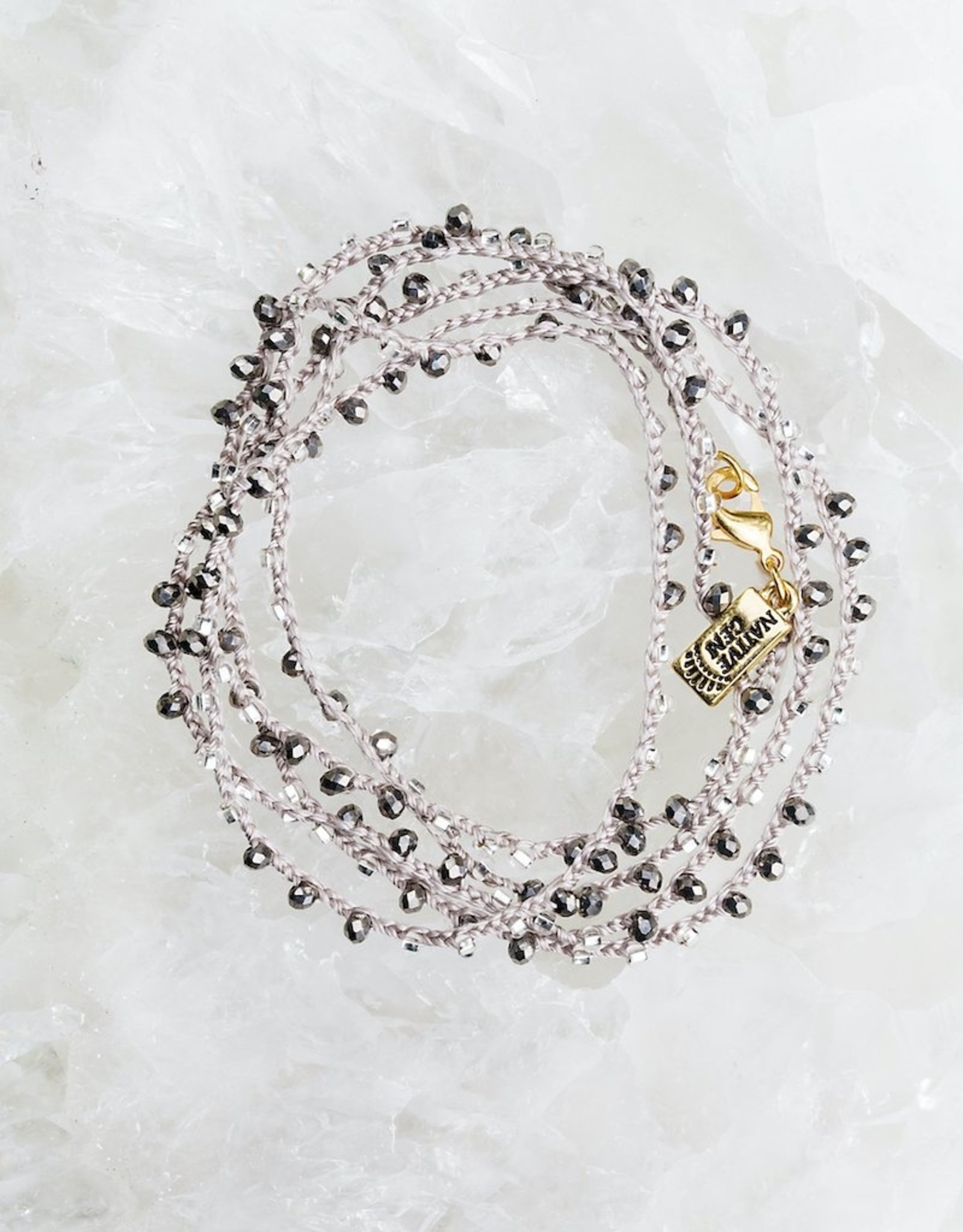 """Native Gems ICE gray silk handcrochet wrap   32"""" with metallic crystals and seed beads, 14k goldfill closure"""