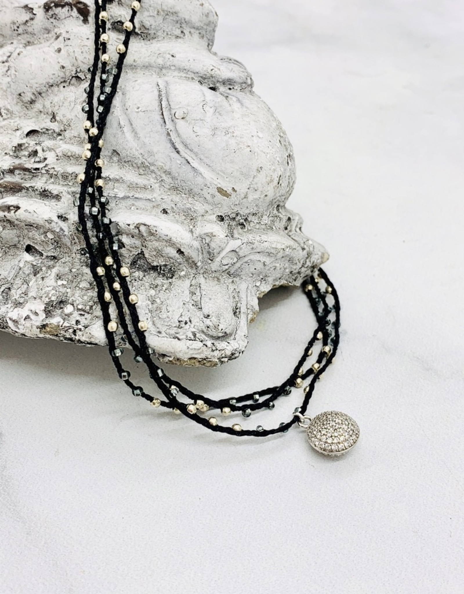 "Native Gems PAVE CIRCLE sterling silver silk handcrochet wrap | 32"" with CZ pave charm"