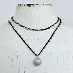 """Native Gems PAVE CIRCLE sterling silver silk handcrochet wrap 