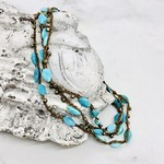 Native Gems ENCHANTMENT sleeping beauty turquoise wrap-necklace, 32""