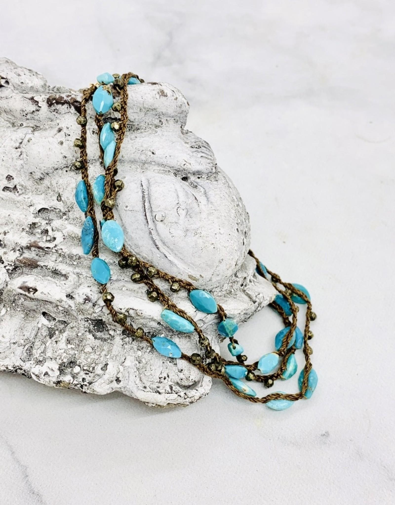 "Native Gems ENCHANTMENT sleeping beauty turquoise wrap-necklace, 32"""