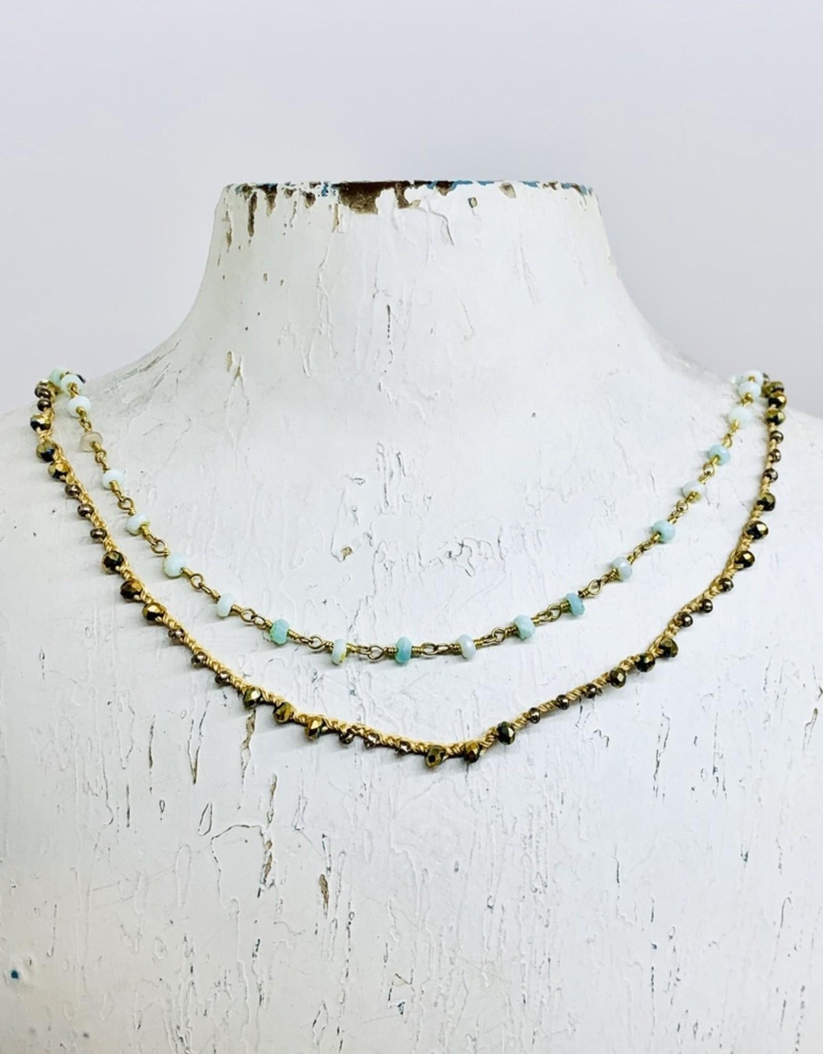 Native Gems RITUAL peruvian opal necklace   Double strands of 14k gold vermeil, silk, cz