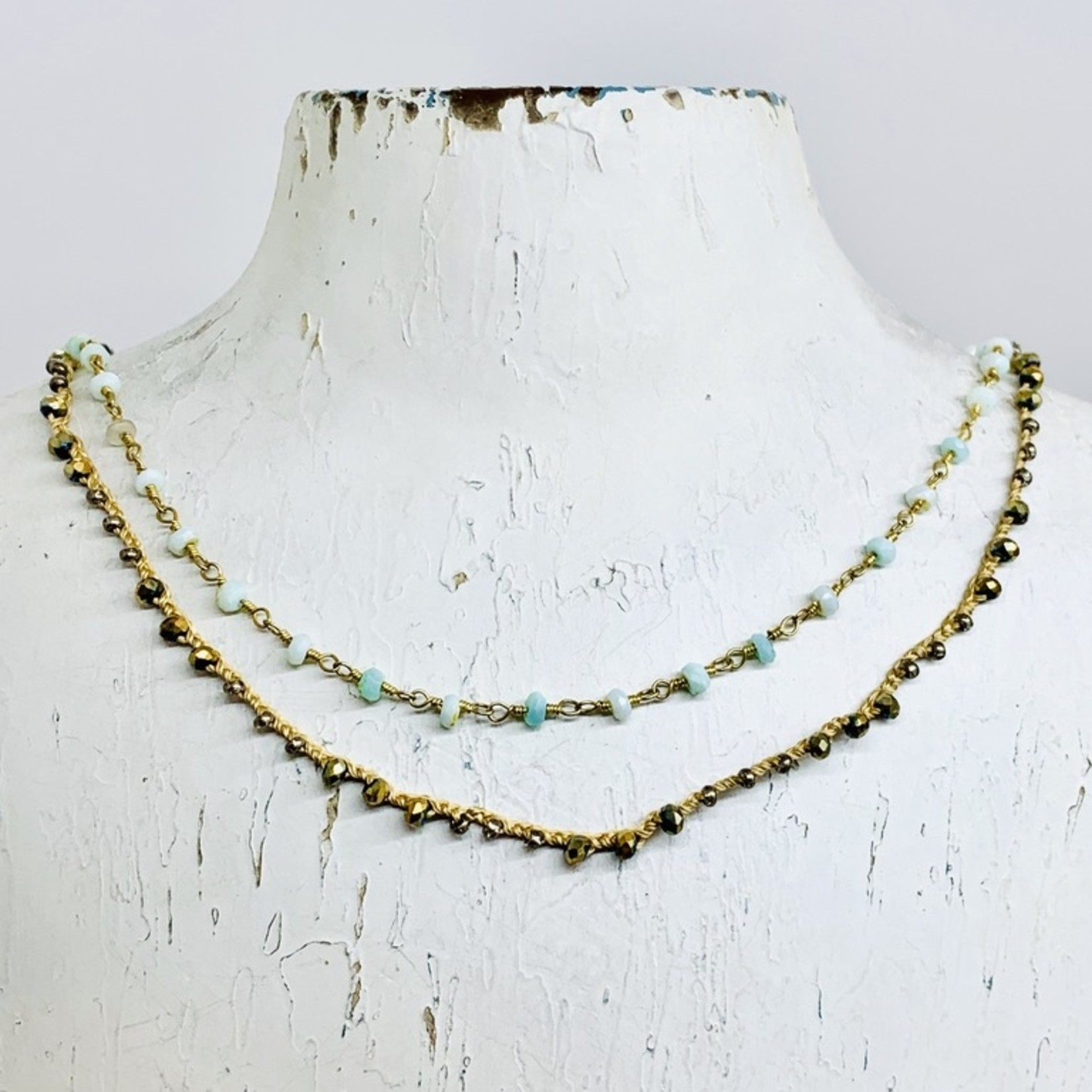 Native Gems RITUAL peruvian opal necklace | Double strands of 14k gold vermeil, silk, cz