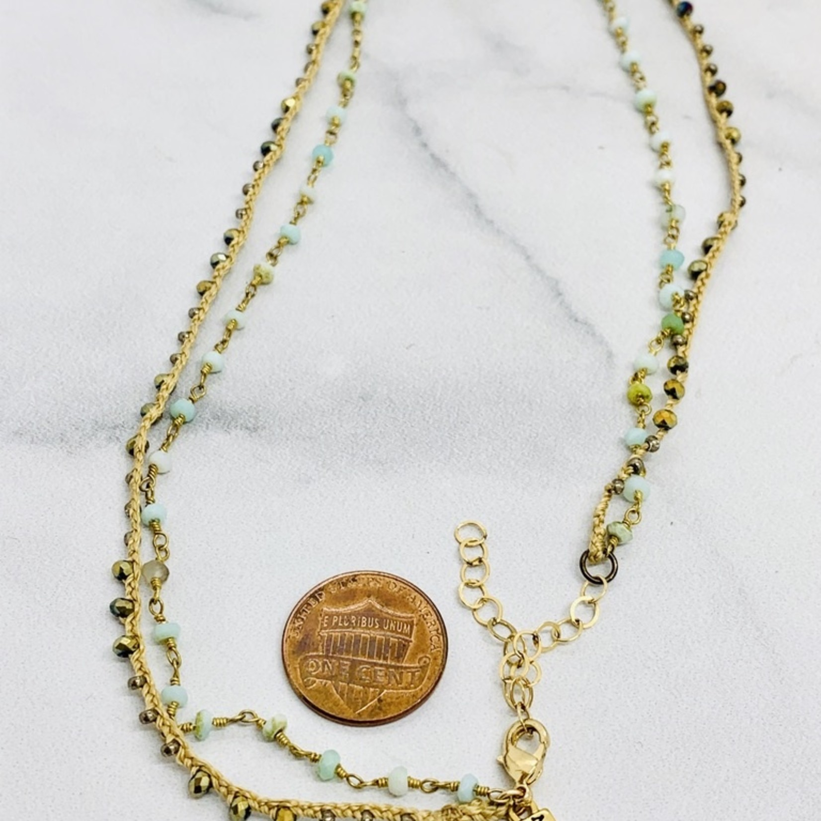 Native Gems RITUAL peruvian opal necklace | Double strands of 14k gold vermeil, silk, cz