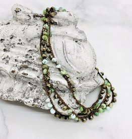 Native Gems PERUVIAN OPAL+ PYRITE with 14K GF silk wrap-necklace, 32""