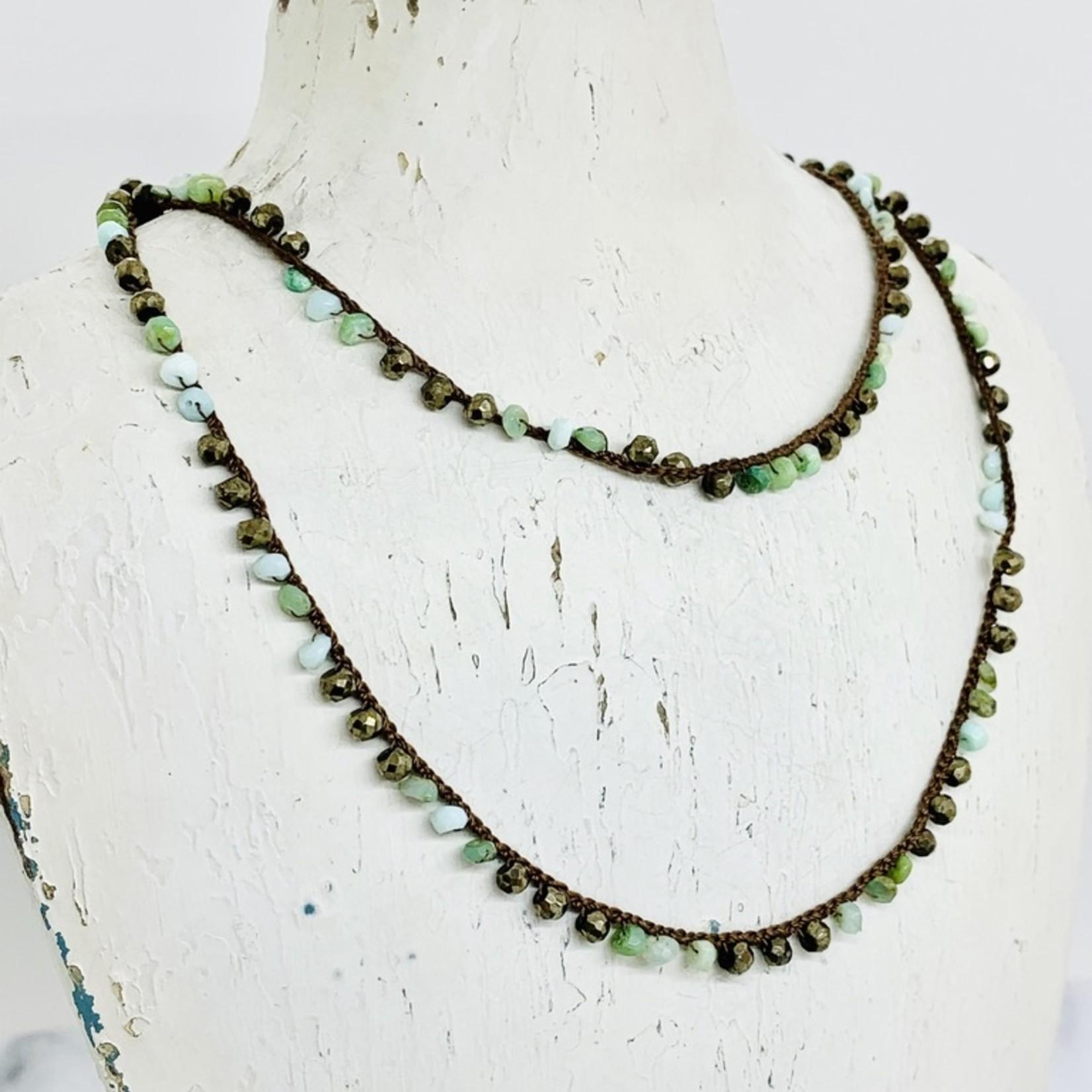 "Native Gems PERUVIAN OPAL+ PYRITE with 14K GF silk wrap-necklace, 32"""