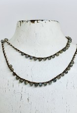 "Native Gems LABRADORITE + PYRITE sterling silver wrap-necklace, 32"" w/14k GF clasp"