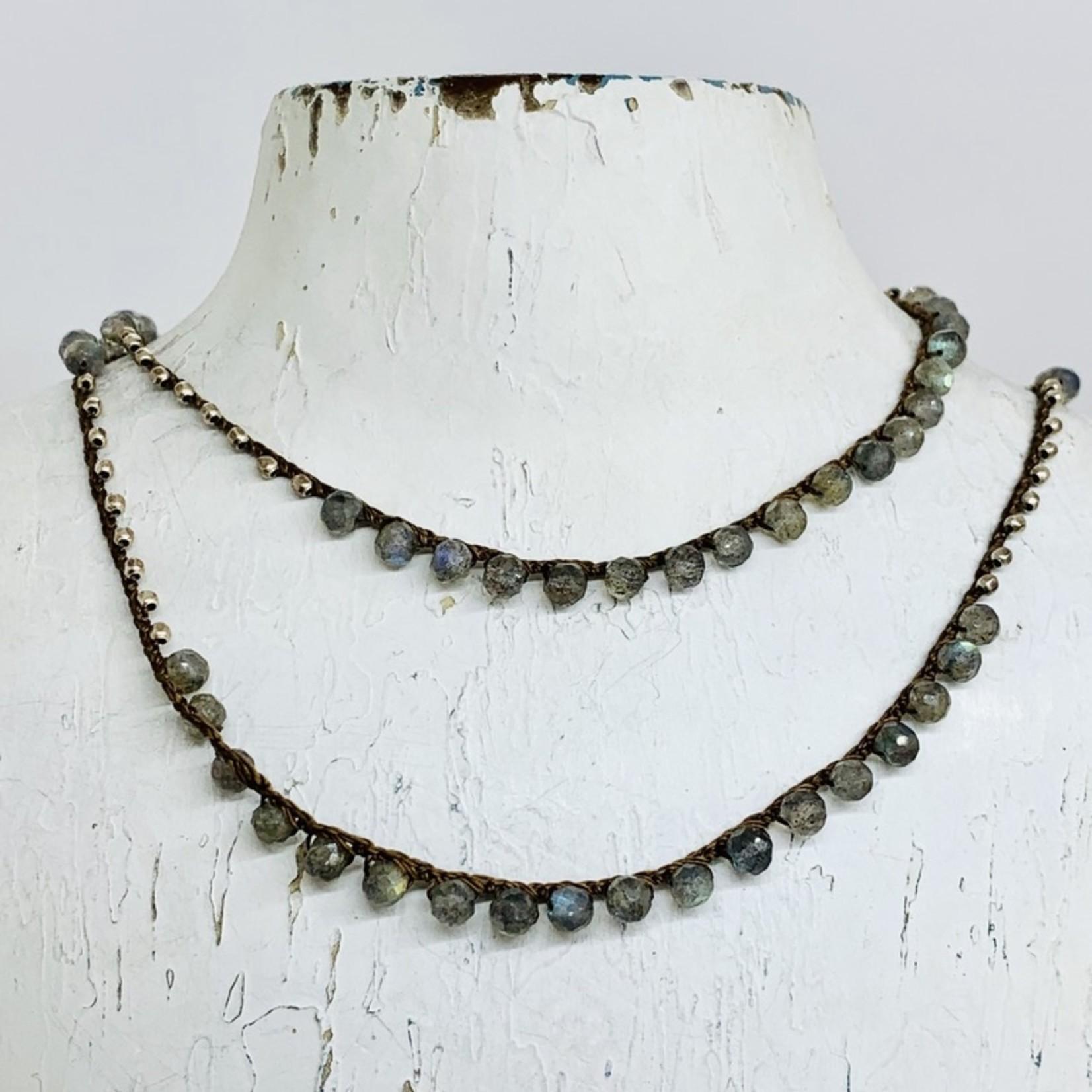 "Native Gems LABRADORITE + PYRITE sterling silver wrap-necklace, 32"" w/14k GF clasp"