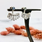 Native Gems MEG earrings in sterling silver with blue moonstone and cz baguettes
