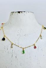 "Native Gems CANDY GEM necklace, 14-16"" with  tiny emerald green quartz, teardrop opal, round pink topaz and trillion cut labradorite"