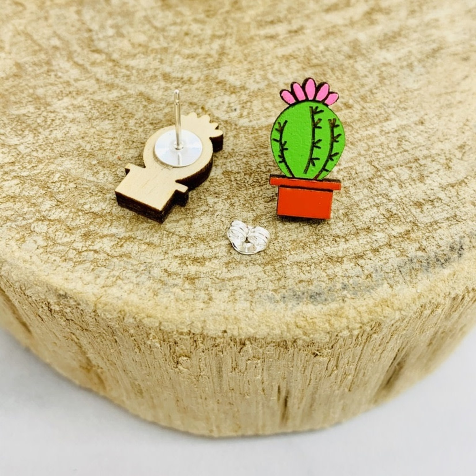 Handmade Succulent Lasercut Wood Earrings on Sterling Silver Posts