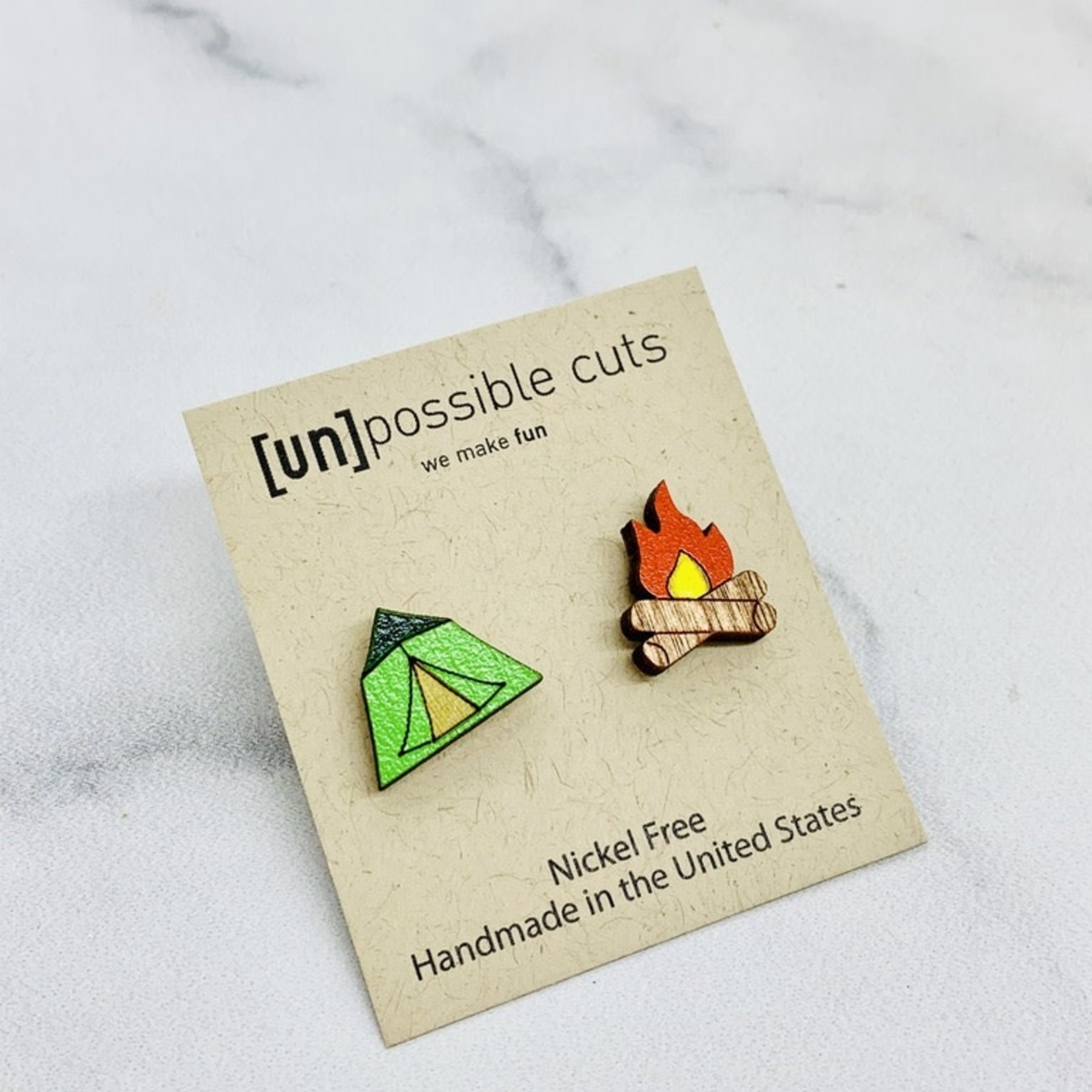 Handmade Camping Lasercut Wood Earrings on Sterling Silver Posts