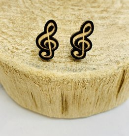 Handmade Treble Clef Lasercut Wood Earrings on Sterling Silver Posts