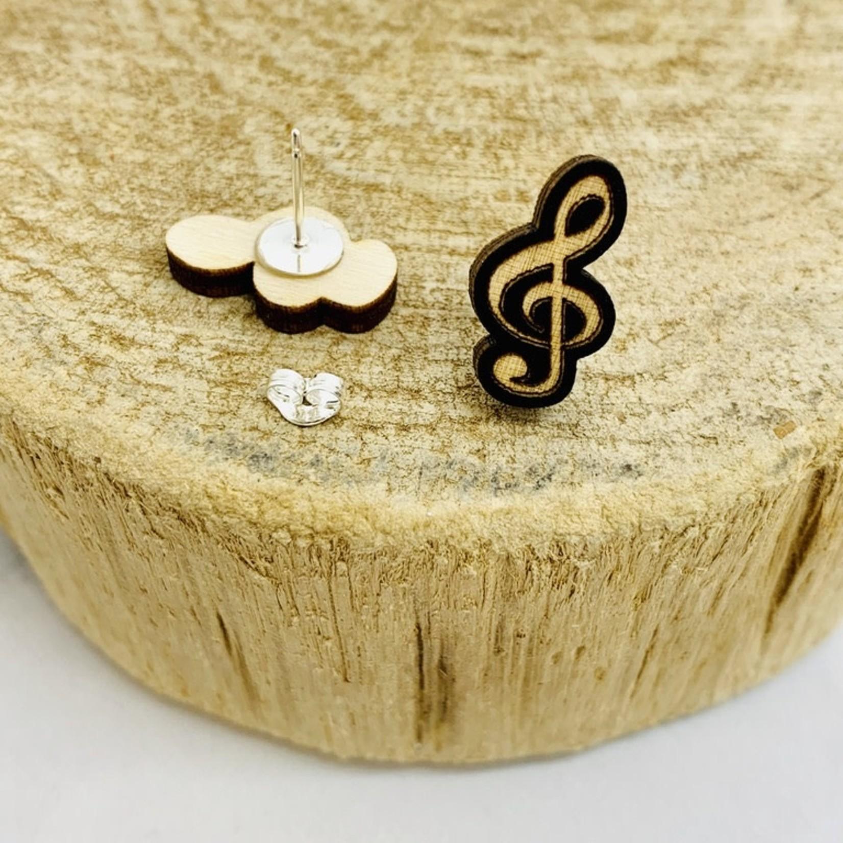 Handmade Treble Clef Lasercut Wood Earrings on Sterling Silver Posts