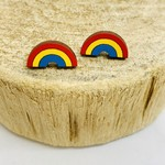 Handmade Rainbow Lasercut Wood Earrings on Sterling Silver Posts