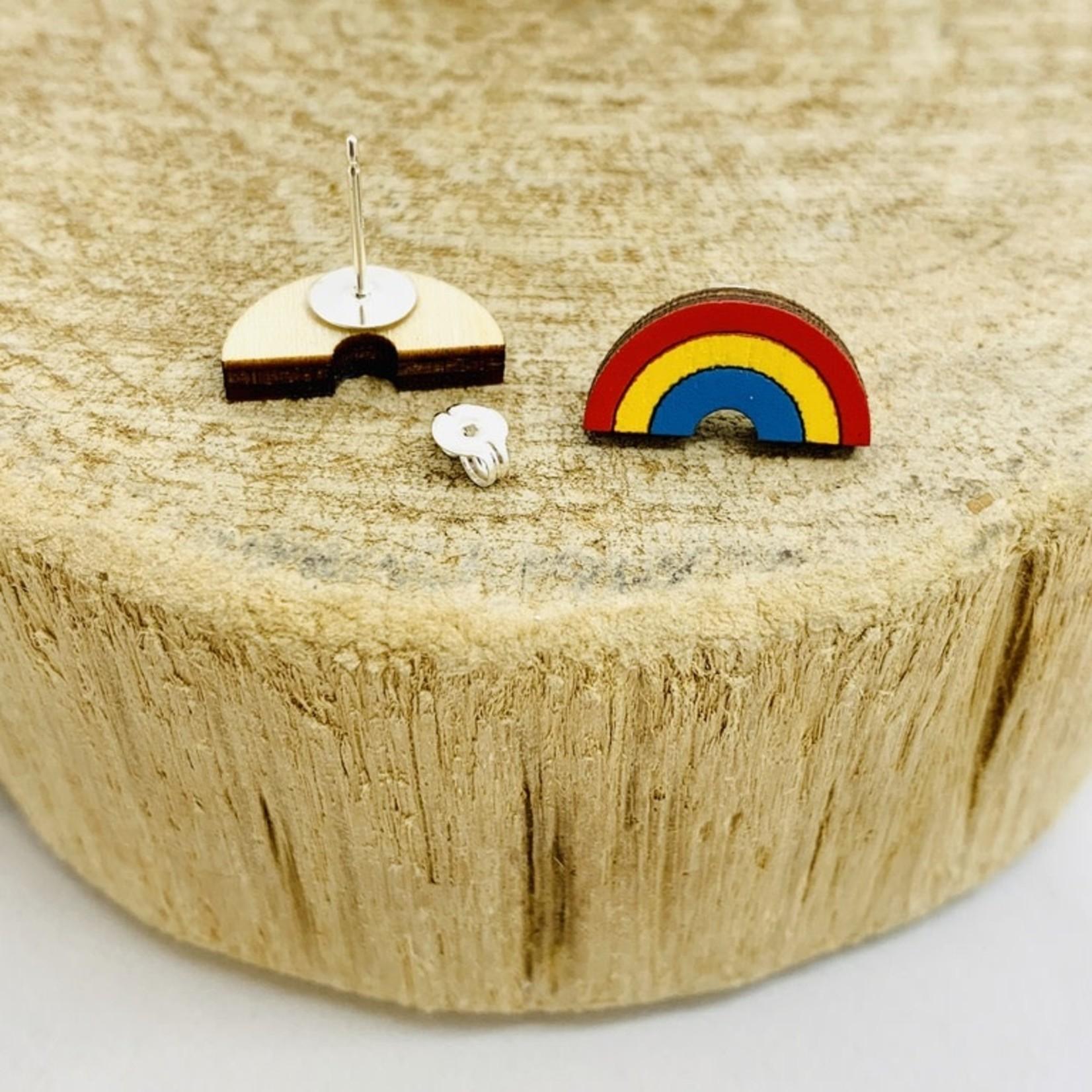 Handmade Rainbow Lasercut Wood Earrings on Sterling Silver Posts