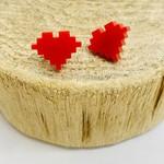 Handmade 8 Bit Heart Lasercut Earrings on Sterling Silver Posts
