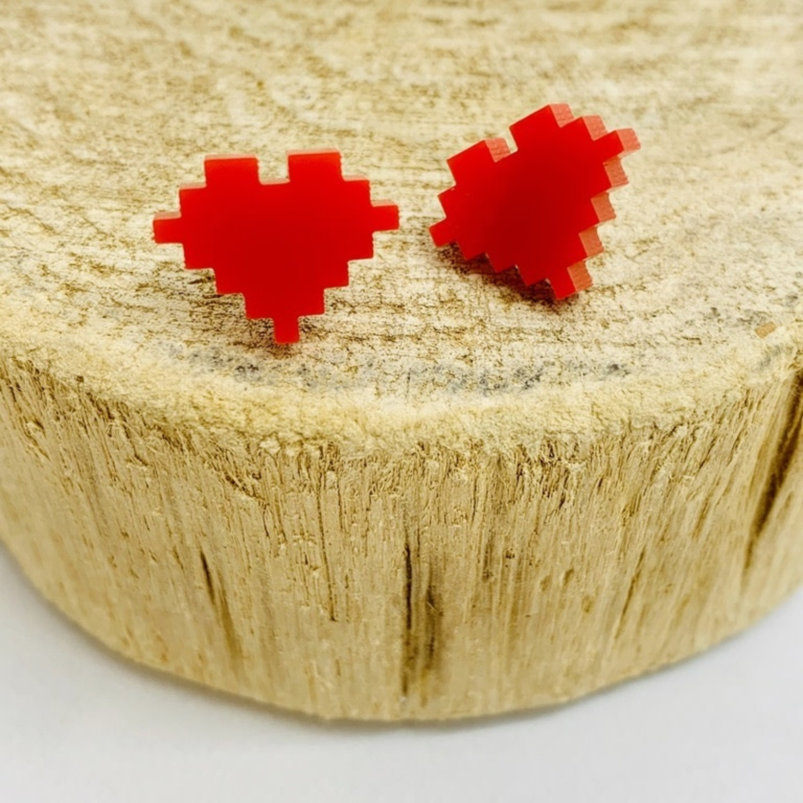 Handmade 8 Bit Heart Lasercut Wood Earrings on Sterling Silver Posts