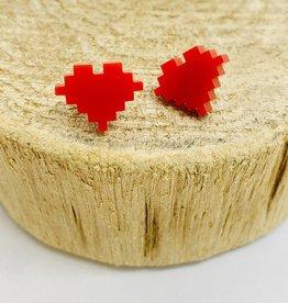 Handmade 8 Bit Heart Lasercut Wood Earrings on Sterling Silver Posts
