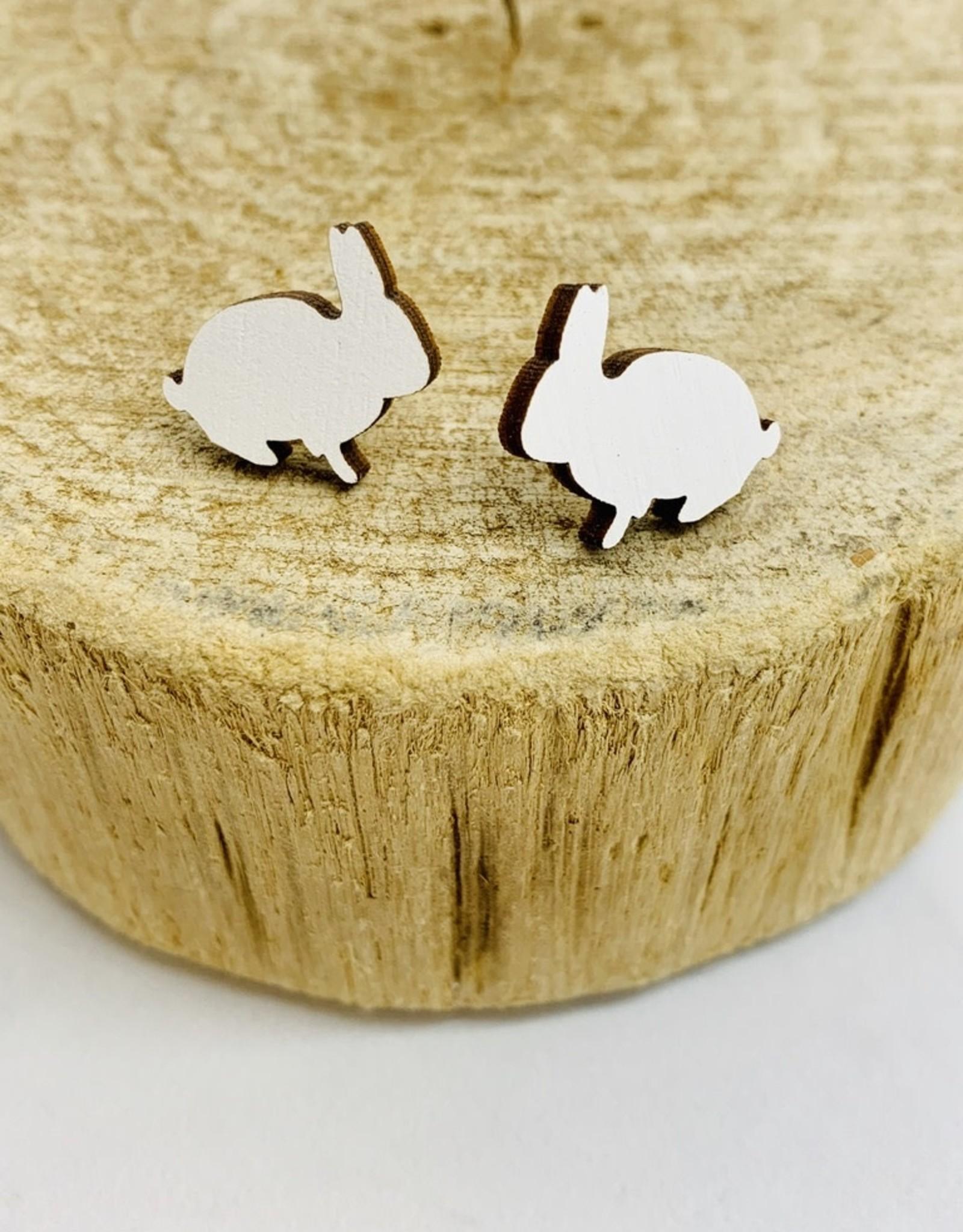 Handmade Bunny - white Lasercut Wood Earrings on Sterling Silver Posts