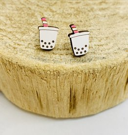 Handmade Boba Tea Lasercut Wood Earrings on Sterling Silver Posts