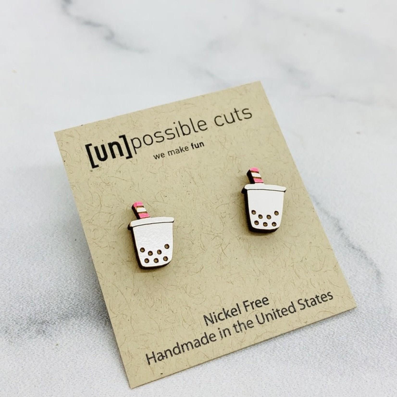 Handmade Boba Tea Lasercut Wood Earrings on Sterling Silver Posts
