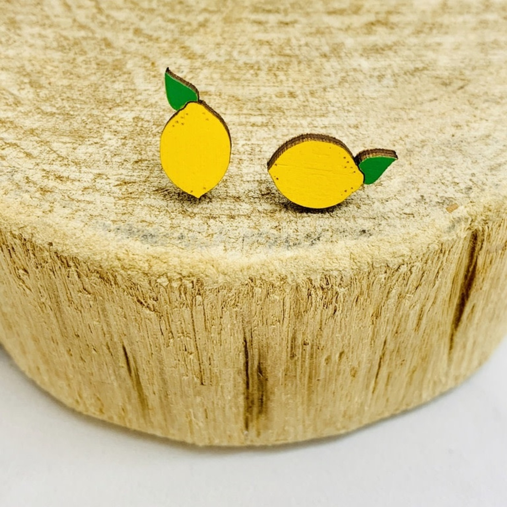 Handmade Lemon Lasercut Wood Earrings on Sterling Silver Posts