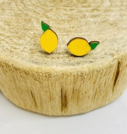 Handmade Lemon Lasercut Wood Earrings on Sterling Silver Posts