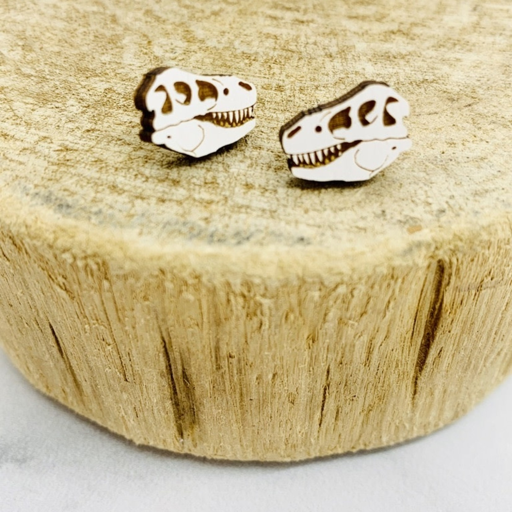 Handmade Dino Skull Lasercut Wood Earrings on Sterling Silver Posts