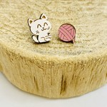 Handmade Cat and Yarn Lasercut Wood Earrings on Sterling Silver Posts