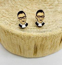Handmade RBG Lasercut Wood Earrings on Sterling Silver Posts