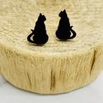 Handmade cat silhouette - black Lasercut Wood Earrings on Sterling Silver Posts