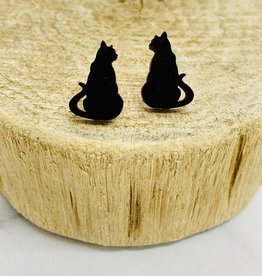 Handmade cat silhouette - black Lasercut Wood Earrings on Sterling Silver Posts