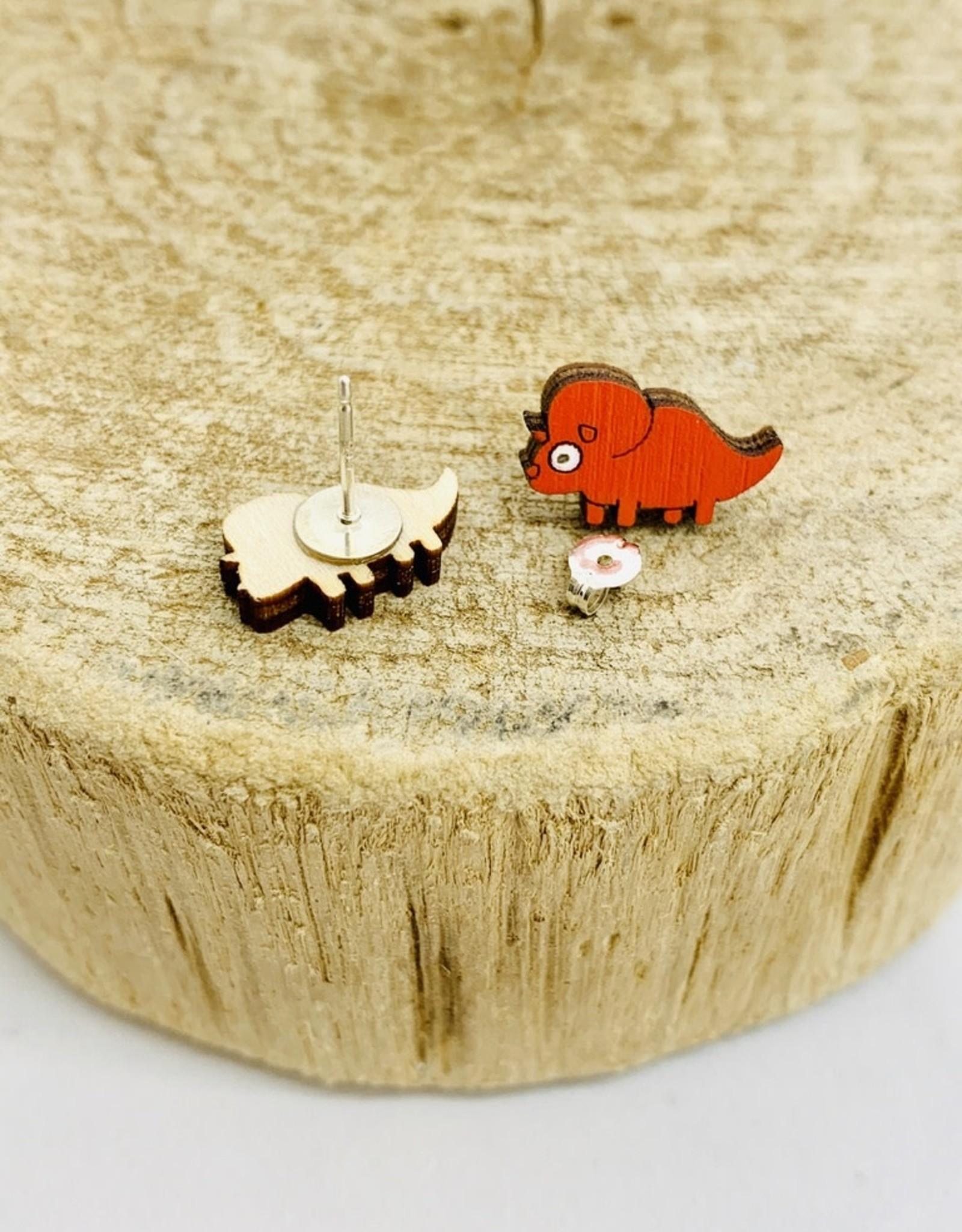 Handmade Three Horn Dino Lasercut Wood Earrings on Sterling Silver Posts