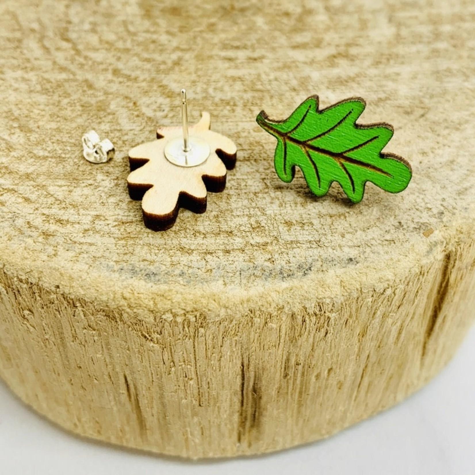 Handmade Green Leaf Lasercut Wood Earrings on Sterling Silver Posts
