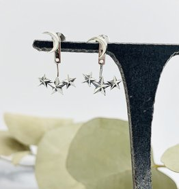 Nina Designs These sterling silver moon and star ear jackets are fun and playful! Wear the night sky with you with these silver ear jackets. These silver earrings are ready to wear, and would make a wonderful gift for any stargazer. Have your own personal Milky Way, t