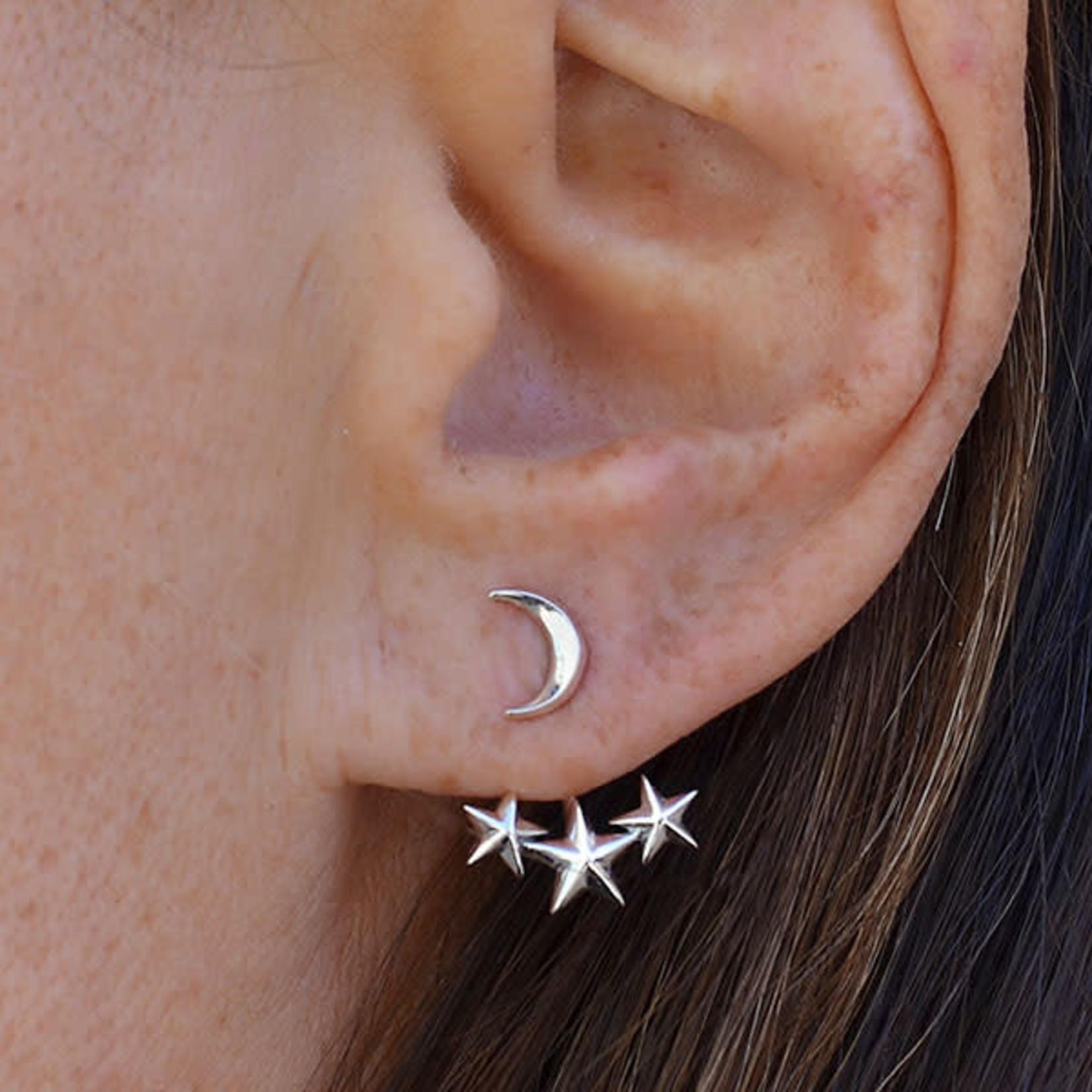 Nina Designs Sterling Silver Moon and Star Ear Jackets